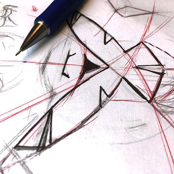 Logo schets dj Legion | Portfolio | de Walserij | on- & offline grafische vormgeving