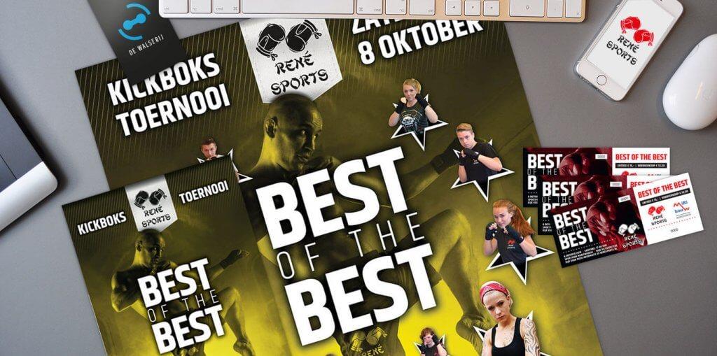 Ontwerp event posters | Kickboks toernooi René Sports | de Walserij | on- & offline grafische vormgeving