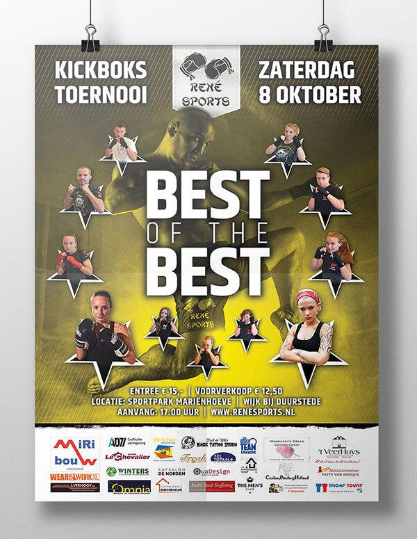 Ontwerp event poster | Kickboks toernooi René Sports | de Walserij | on- & offline grafische vormgeving