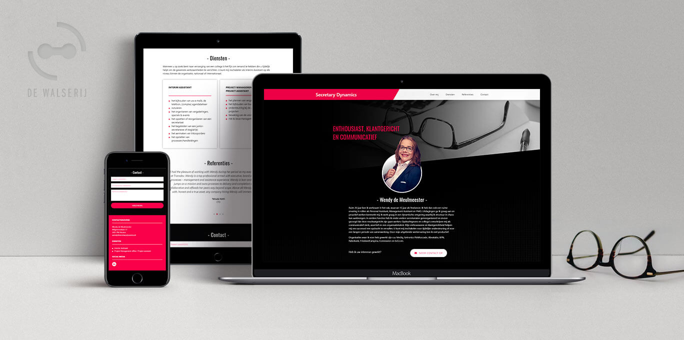 WordPress website Secretary Dynamics | Portfolio | On- & offline grafische vormgeving | de Walserij
